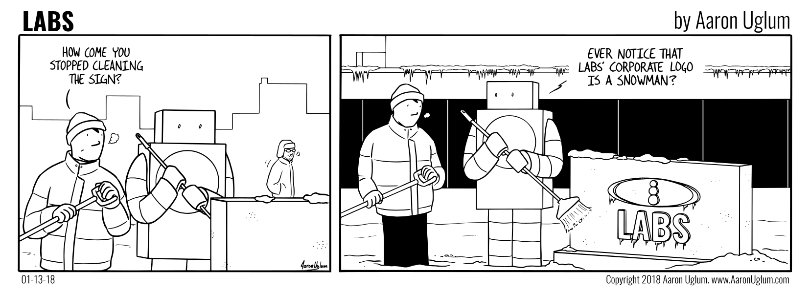 LABS Cartoon 01/13/18 - Cleaning the LABS Sign